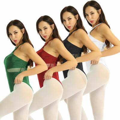 Women Girls Fishnet Splice Ballet Dance Leotard Tracksuit Gymnastic Dancewear