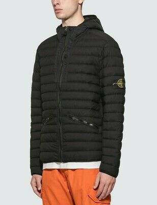 STONE ISLAND MEN'S Padded Puffer Jacket with Hoodie Black