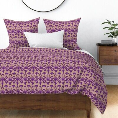 Abstract Alien Traditional Classic Modern Purple Sateen Duvet Cover by Roostery