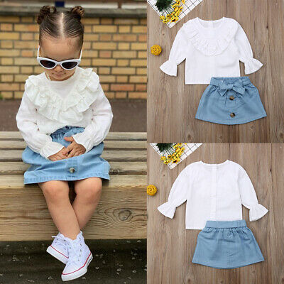 Toddler Kids Baby Girl Ruffle Blouse Shirt Tops Mini Skirts Outfit Clothes Set