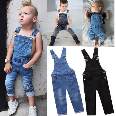 Toddler Kids Boys Denim Sleeveless Jumpsuit Girls Playsuit Cowboy Jeans Trouser