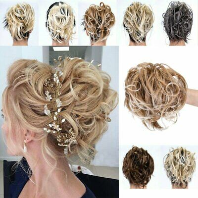 Large Thick Messy Bun Hair Scrunchies Updo Cover Curly Hair Extensions Piece UK