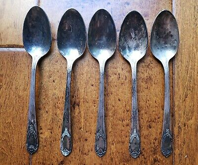 """Lot of 5 Antique Rogers & Bro IS Collectible Spoon 6"""" Reinforced Silver Plate"""