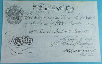 Genuine British Bank of England £50 Fifty Pound Note 1933