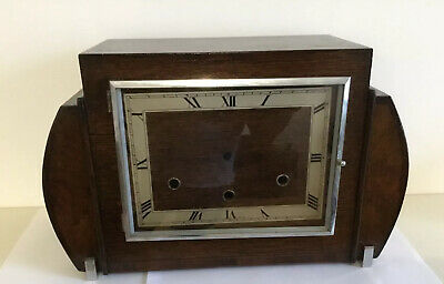 Large Vintage Art Deco Style Empty Perivale  Mantle Clock Case Westminster Type