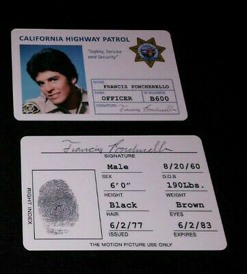 """""""Chip's """"Ponch"""" CHP Replica Credential Prop Card Tv Show"""