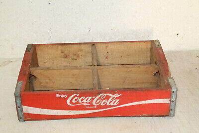 Vintage RED WOODEN COCA COLA Crate Case Box Caddy ADVERTISING 1979
