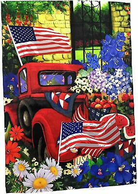 "Patriotic Red Truck Garden Flag 12"" x 18"" Double Sided, Lantern Hill"