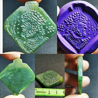 Old wonderful King face seal stone jade intaglio Amulet   # 100