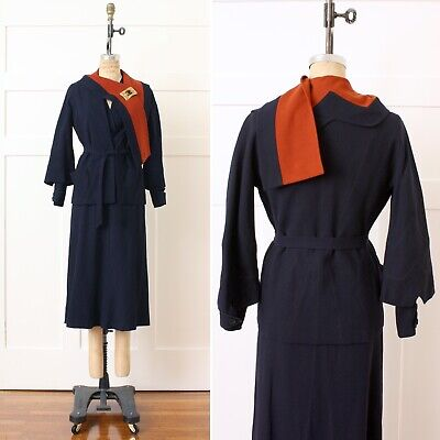 VNTG Antique 1920s 30s Art Deco Dress & Jacket Set Couture Quality in Blue Wool