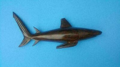 "15"" Long Life Like Hand Made Heavy Dark Wood White Shark Carving Sculpture"