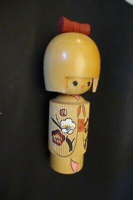 "LANbx WOOD KOKESHI DOLL, JAPANESE VINTAGE pleated kimono 6"" high"