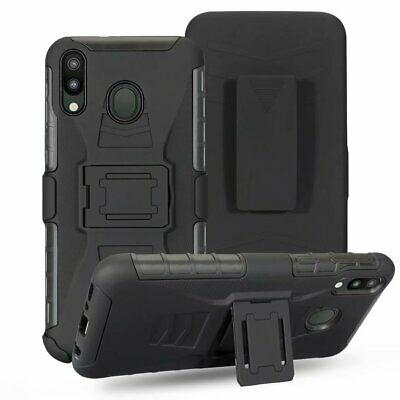 For Samsung Galaxy A20s, Belt Clip Rugged Armor Case + Tempered Glass Protector