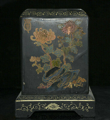 "8"" Antique Old Chinese Wood Lacquerware Painting Dynasty Palace Flower Seal Box"