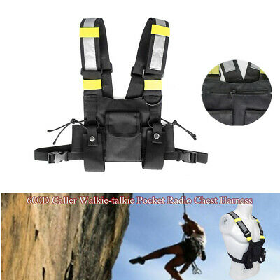 Nylon Holster Vest Rig Pocket Radio Chest Harness Front Pack Pouch Walkie Talkie