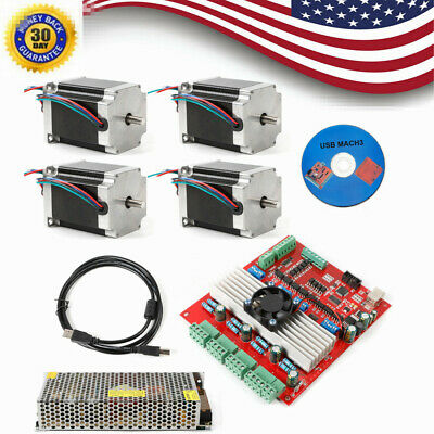 Stepper Motor Kit Nema23 4Axis 290oz.in 4A & USB Driver 4Axis Board Supply CNC