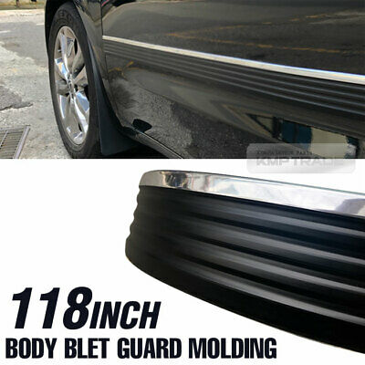 """Body Belt Molding Side Protector Factory Style Black Chrome 118"""" For Suv Truck"""