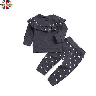 Toddler Baby Kids Girls Ruffle Tops Trouser Pant Tracksuit Outfits Sets Clothes