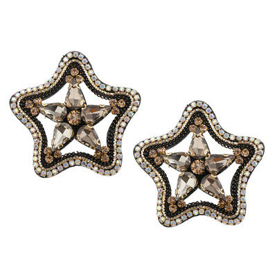 3pcs Crystal Star Shaped Beads Appliques Patch Decorative Sewing Craft 5x5cm