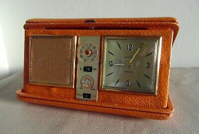 Vintage ESTYMA Travel Radio Alarm Clock In A Faux Tan Leather Case - CTR625