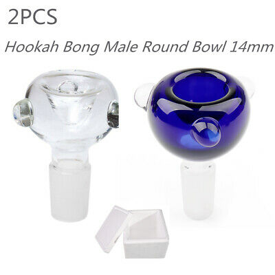 2PCS 14mm Glass Male Round Slide Bowl Downstem For Hookah Water Bong w/ Box