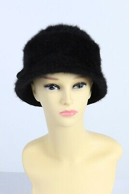 Vintage 1970s Fashion Womens Short Brimmed Winter Hat Warm Lined Black - HAT1012