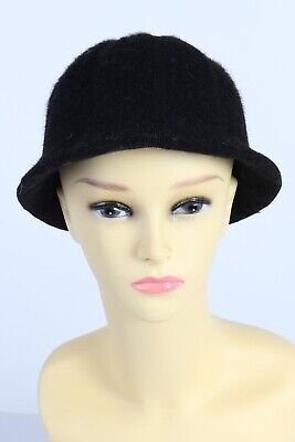 Vintage Schmedes 1980s Fashion Womens Brimmed Lined Winter Hat  Black - HAT1009