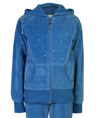 Childrens Velour Hooded Jacket Diamante Hoody Blue Age 13
