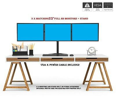 """TRIPLE SCREEN SETUP + STAND FOR PC HOME OFFICE Trading PC 3 x 23"""" MONITOR 1080p"""