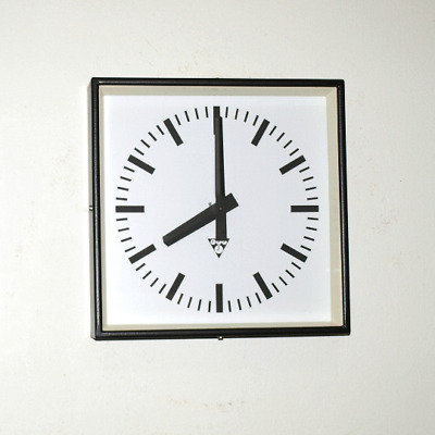 metal square wall clock PRAGOTRON - black - Factory clock - vintage loft retro