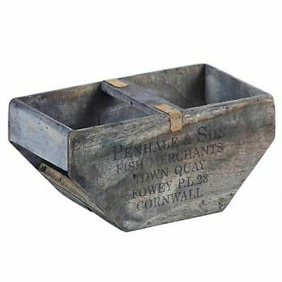 Wooden Vintage Shaped Fish Box - Penhale & Sons Newquay Cornwall Trug