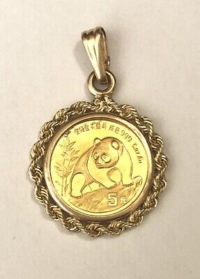 14k Yellow Gold 1oz Mounting Panda Coin Twisted Rope Bezel Pendant For Necklace