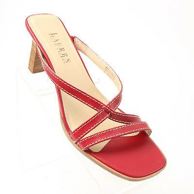RALPH LAUREN 8.5 RED Strappy Sandal CHRISSY Wedge Patent