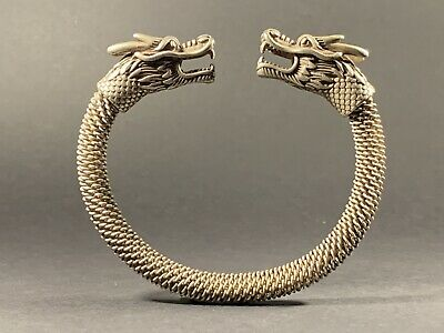 Beautiful Ancient Viking Style Solid Silver Bracelet With Dragon Head Terminals