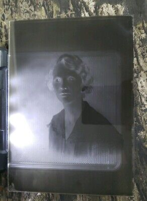 "Antique Glass Dry Plate Photo Negative 5""×7"" Photograph Of A Woman"