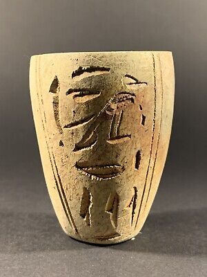 Ancient Egyptian Stone Vessel Featuring Hieroglyphics On Front - Circa 770-332Bc