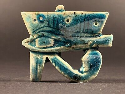Ancient Egyptian Faience Eye Of Horus Amulet W/ Original Colours Circa 770-332Bc
