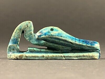 G2 Ancient Egyptian Glazed Faience Ibis Nile Bird Statuette - Circa 770-332Bce