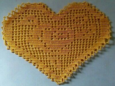 Crocheted Heart Shaped Doily $4.00 (gold) Price Reduced! Free Shipping