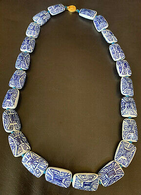 Vintage Signed Chinese Blue & White Flower Porcelain Knotted Oval Bead Necklace