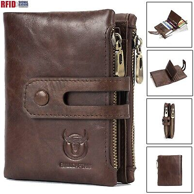 Mens Wallets with Double Zipper Coin Pocket Genuine Leather RFID Zip Coin Purse