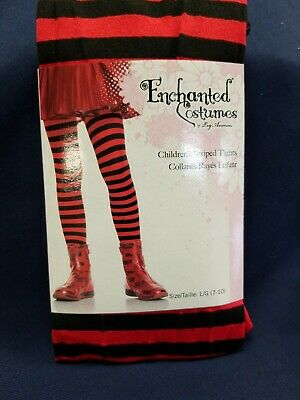 7-10 years Girls Black And Red Striped Tights by Leg Avenue