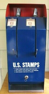 U.S. Postage Stamp Machine Coin Op with Mechanism and Coin Box W/Key & Manual