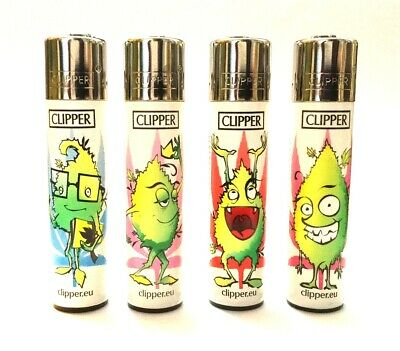 4 x CLIPPER LIGHTERS LEAVES FUN FACES LEAF GAS FLINT REFILLABLE LIGHTER