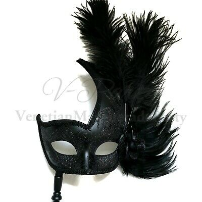 Gold Silver Stick Masquerade Mask Show Girl Burlesque Dance Quinceanera Party
