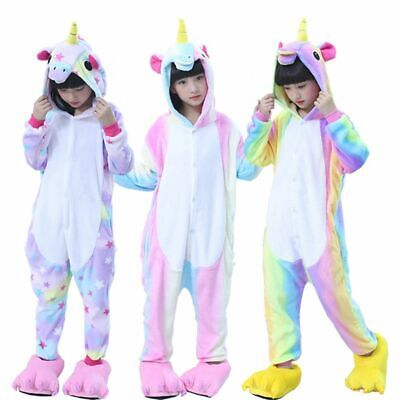 Kigurumi Animal Cosplay Costume Rainbow Pyjama Unicorn Sleepwear Kids Pajamas