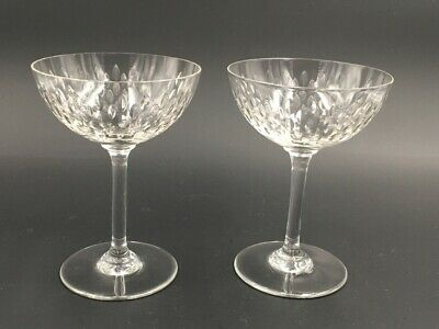 2 coupes champagne cristal Baccarat grain de riz Paris Set of 2 crystal glasses