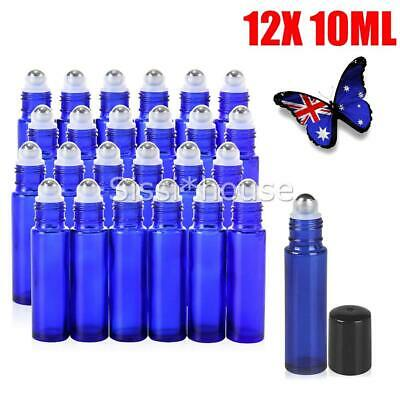 12X 10ml Roller Bottles Blue THICK Glass Steel Roll on Ball for Essential Oils