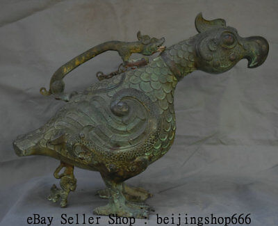 "22"" Rare Old Chinese Bronze Ware Dynasty Dragon Portable Birds Zun Wine Vessel"