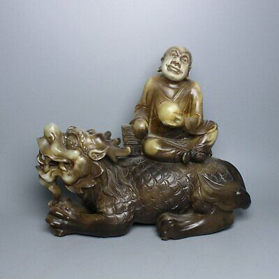 Chinese Exquisite Hand carved Shoushan Stone Luohan and beast statue